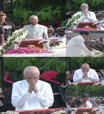 వాజ్పేయి భౌతిక కాయం వద్ద నివాళులర్పించిన  అద్వానీ, ప్రధాని