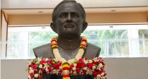 Image result for images of ISRO unveils bust of space pioneer Sarabhai in Bengaluru
