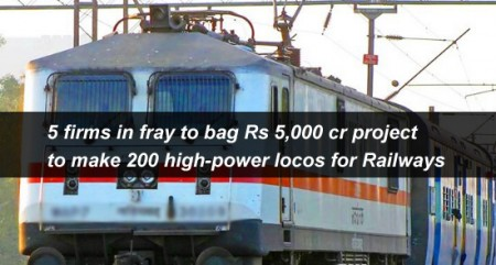 5 firms in fray to bag Rs 5,000 cr project to make 200 high-power locos for Railways
