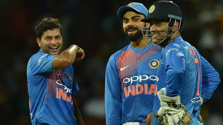 Kuldeep bowls a wrong one, stumps Dhoni with humour